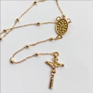 Rosary Style Gold Toned Alloy Necklace